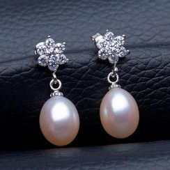 微微珍珠 - 淡水珍珠雪花純銀耳環