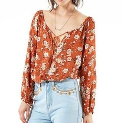 Obel - Floral Print Long-Sleeve Blouse