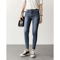 UPTOWNHOLIC - Band-Waist Skinny Jeans