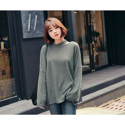 HOTPING - Cutout-Front Bell-Sleeve Knit Top