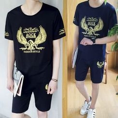 Danjieshi - Set: Metallic Print Short Sleeve T-Shirt  + Shorts