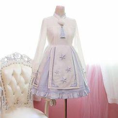 Cosgirl - Long-Sleeve Mandarin Collar Embroidered Dress