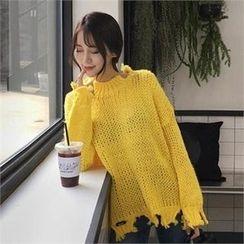 QNIGIRLS - Mock-Neck Distressed Sweater