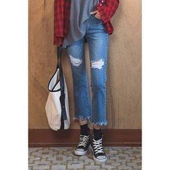 migunstyle - Distressed Frey-Hem Jeans