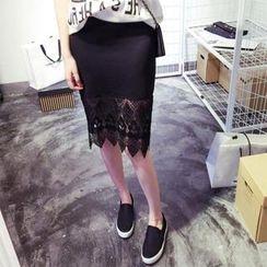 QZ Lady - Lace Hem Midi Skirt