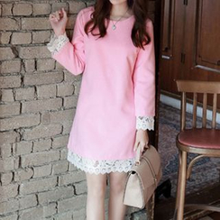 Mocha - Lace Trim Long-Sleeve Shift Dress