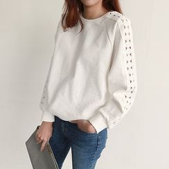 NIPONJJUYA - Raglan-Sleeve Lace-Trim Sweatshirt