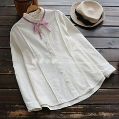 YOYO - Long-Sleeve Tie-Neck Blouse