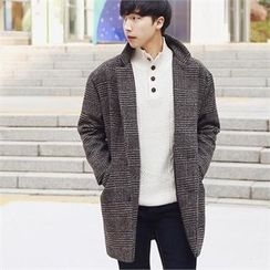 Smallman - Single-Breasted Check Coat