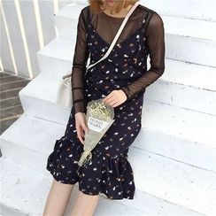 Mayflower - Set: Mesh Long Sleeve Top + Floral Print Slipdress