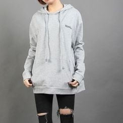 Momewear - Letter-Embroidered Hooded Pullover