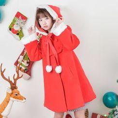 Moriville - Furry Trim Hooded Coat