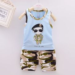 POMME - Kids Set: Printed Tank Top + Camouflage Shorts