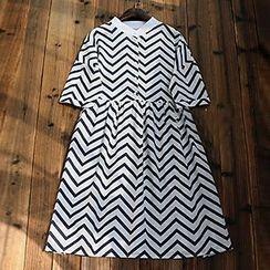 tete - 曲折紋中長連衣裙