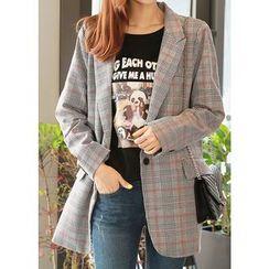 J-ANN - Single-Breasted Glen-Check Jacket