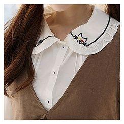 Sechuna - Tie-Front Pintuck Shirt