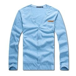 MR.PARK - Pocket-Front V-Neck Cardigan