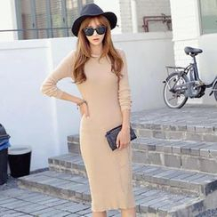 REDOPIN - Rib-Knit Midi Dress