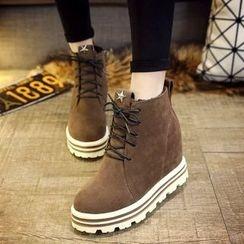 EMIL - Hidden Wedge Platform Lace-Up Short Boots