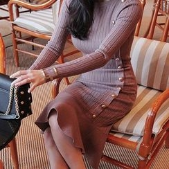 Seoul Fashion - Metallic-Button Knit Mermaid Dress