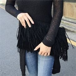 Picapica - Fringed Faux-Suede Wristlet Clutch