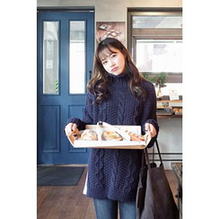 CHERRYKOKO - Mock-Neck Cable-Knit Sweater