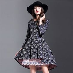 Y:Q - Lace Hem Printed A-Line Dress