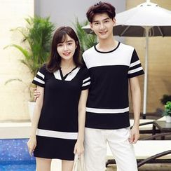 Azure - Couple Matching Striped Short-Sleeve T-Shirt / Striped Short-Sleeve T-Shirt Dress