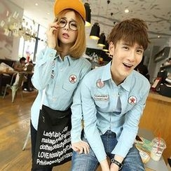 Lovebirds - Couple Applique Denim Shirt