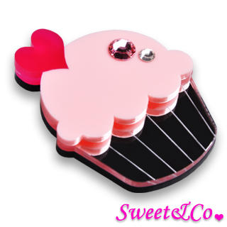 Sweet & Co. - Swarovski Crystal Silver Pink Cupcake Pin