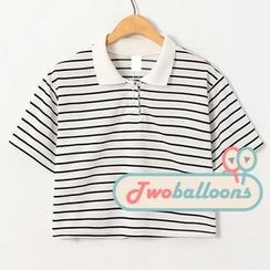 JVL - Short-Sleeve Striped Cropped Polo Shirt
