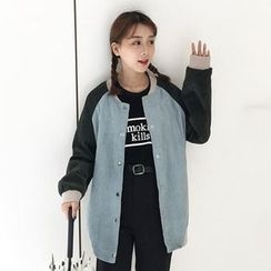 Bloombloom - Long Color Block Baseball Jacket