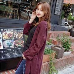 Styleberry - Open-Front Slit-Sleeve Cardigan