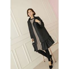 Lemite - Ruffled-Hem Zip Coat