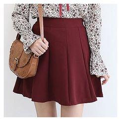 Sechuna - Band-Waist Mini Flare Skirt