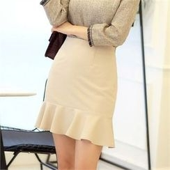 CHICLINE - Ruffle-Hem Skirt