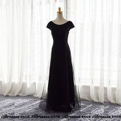 idresses - Embellished Lace Evening Gown