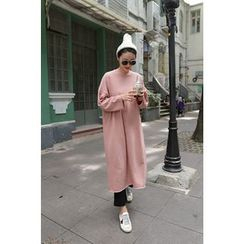 PPGIRL - Round-Neck Long T-Shirt Dress With Sash
