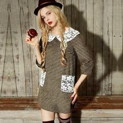 ELF SACK - Elbow-Sleeve Wool Blend Paneled Dress