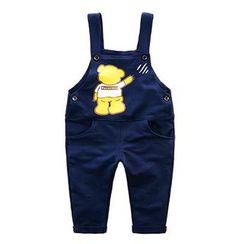 Kido - 儿童小熊印花背带裤