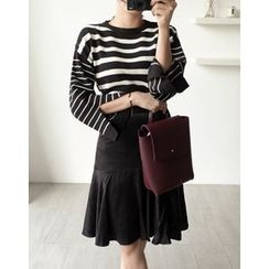 UPTOWNHOLIC - Band-Waist Ruffle-Hem Skirt