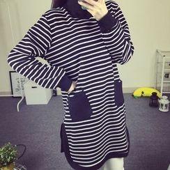 Zzang Girls - Striped Mock Neck Long Sleeve Tunic