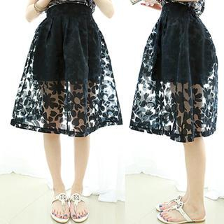 Dodostyle - Floral Shadow A-Line Skirt