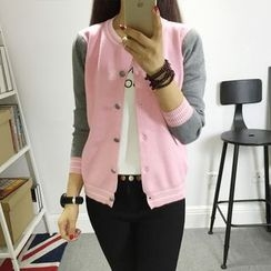 Autunno - Contrast-Color Buttoned Knit Cardigan