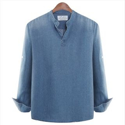 WIZIKOREA - Mandarin-Collar Denim Shirt