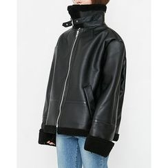 Someday, if - Funnel-Neck Faux-Shearling Jacket