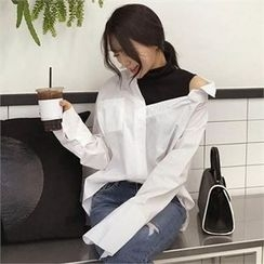 QNIGIRLS - Inset Off-Shoulder Shirt Turtle-Neck Sleeveless Top
