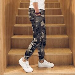 LC Homme - Camouflage Straight-Leg Pants