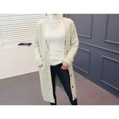 DANI LOVE - V-Neck Long Cable-Knit Cardigan