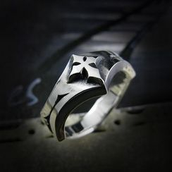 Sterlingworth - Cross Embossed Sterling Silver Ring